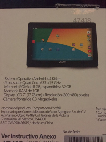tablet ghia 7  quad core android 4.4