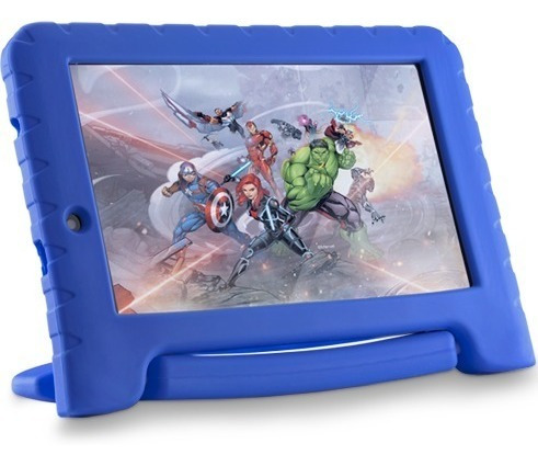 tablet kid pad  infantil vingadores plus  case azul multilaser 8gb + nfe + frete grátis