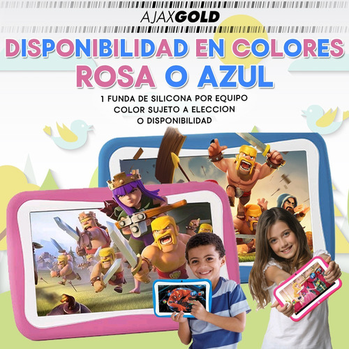 tablet kids 7 para niños control parental + funda p/ golpes