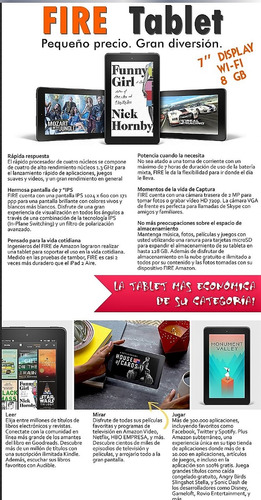 tablet kindle fire pant 7 pulg hd quadcore 1gb/8gb doble cam