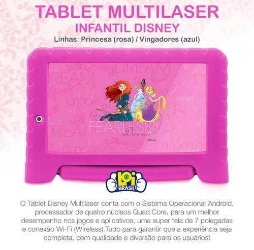 tablet multilaser disney quad core dual câmera oferta loi