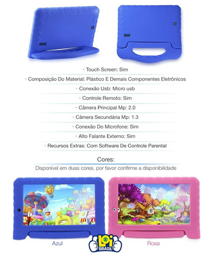 tablet multilaser kidpad plus cores 1gb android 7 wifi ofert