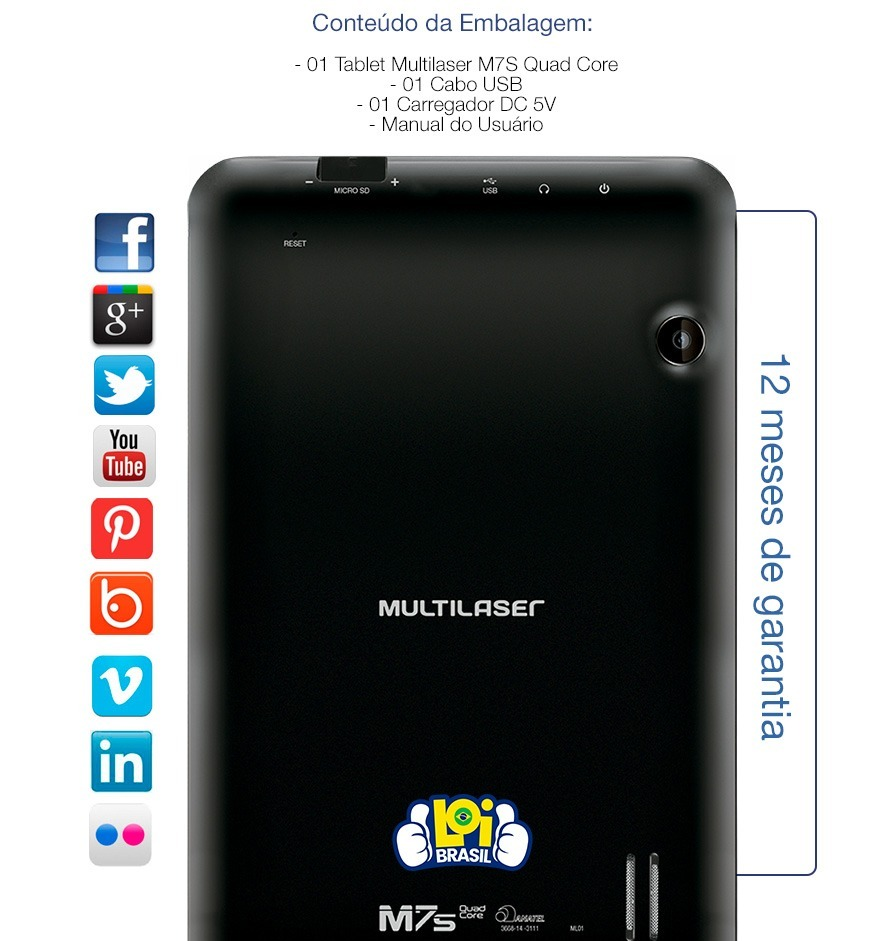 e987164c6a5f9 Tablet Multilaser M7s Quad Core 8gb Wi-fi Oferta Loi - R  297,99 em ...