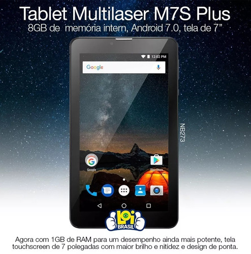 tablet multilaser nb273 m7 plus quad core 1gb ram câmera
