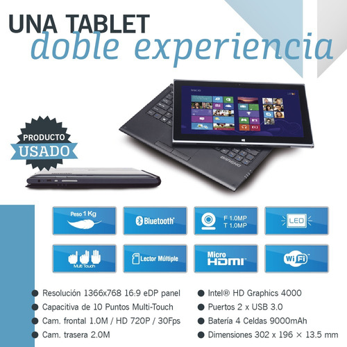 tablet notebook 2 en 1 bangho core i3 4gb ssd 64gb outlet