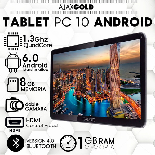 tablet pc 10 hd android lcd wifi 4k hdmi 4g + combo y funda