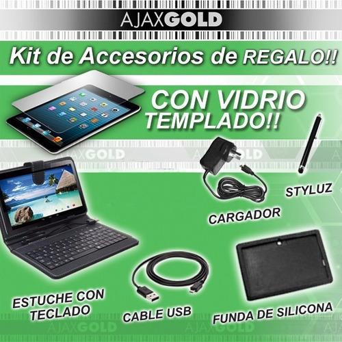tablet pc 10 quadcore 16gb audinac wifi + templado + teclado