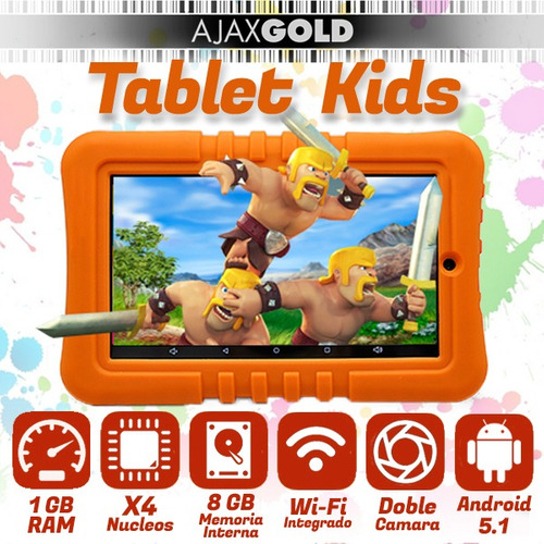 tablet pc 7 kids para chicos android quadcore niños + funda