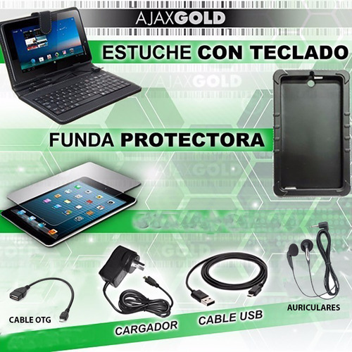 tablet pc android wifi 4g full hd + funda con teclado + film