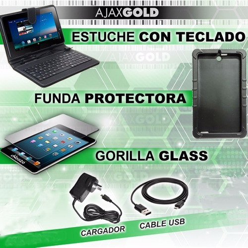 tablet pc android wifi 4g hd + funda con teclado + templado