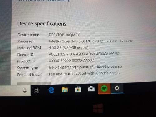 tablet  surface pro 1, 128 gb 4 gb ram procesador i5 detalle