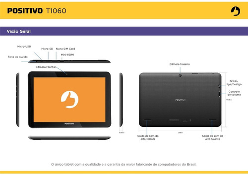 tablet t1060 positivo 16 gb wifi gps touch 10.1' hdmi