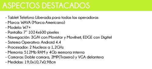 tablet telefono 7 3g wava android camara wifi bluetooth gps