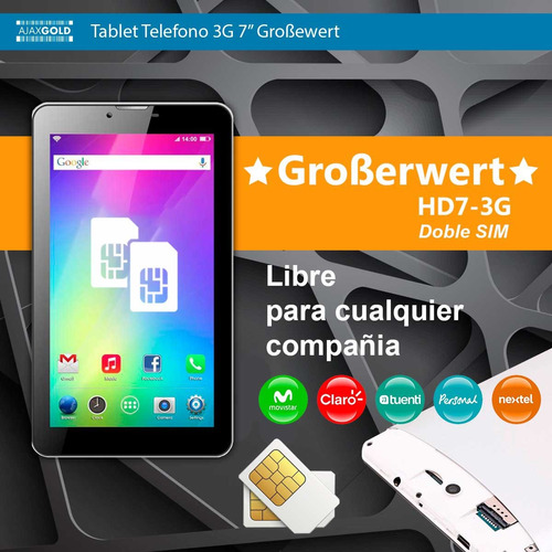 tablet + telefono + gps quadcore 1gb wifi 3g dual sim chip