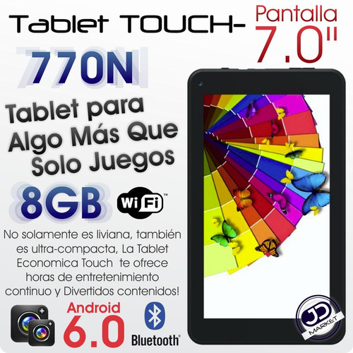 tablet touch 770n 7.0'', android 6.0, quad core, 8gb/1gb ram
