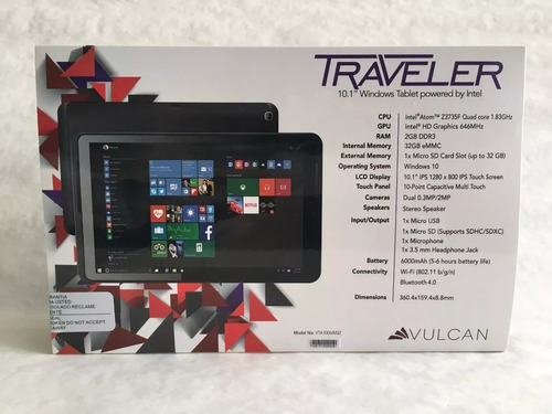 tablet vulcan 10.1  traveler 2g/32g - tbvta1006im32/new