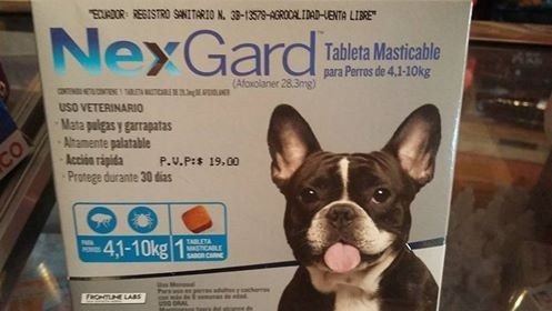 tableta  antipulgas antigarrapatas nexgard 4/10kg medianos
