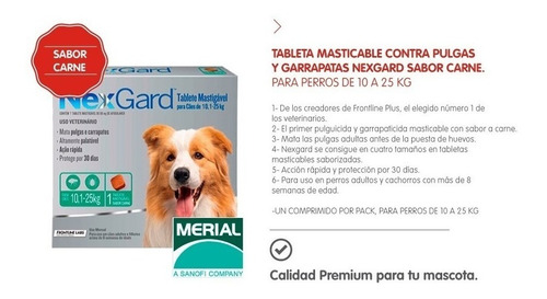 tableta antipulgas antigarrapatas sarna nexgard 10/25kg