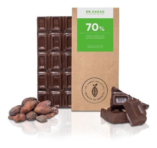 tableta chocolate dr cacao 70% con azucar organica x70grs en
