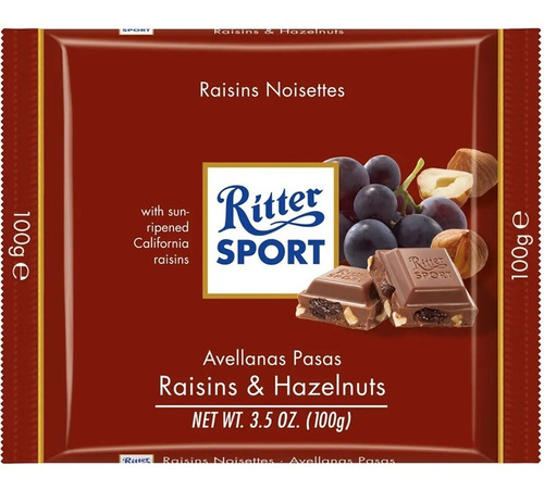 tableta chocolate ritter avellanas y pasas x100g