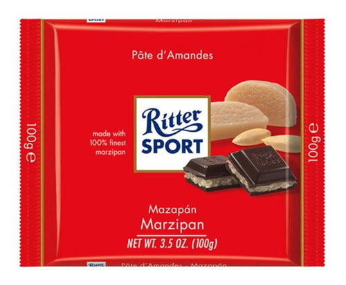 tableta chocolate ritter mazapan x100g