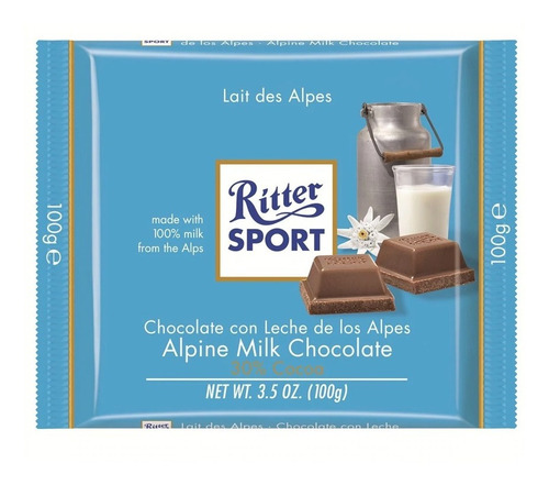 tableta chocolate ritter sport lait des alpes x100g
