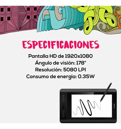 tableta digitalizadora xp pen artist 12 full hd ips 4k pce
