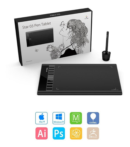 tableta digitalizadora xp pen star 03 lapiz win mac 12ct