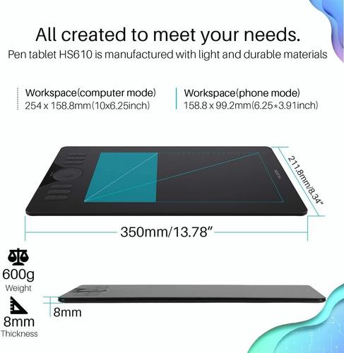 tableta gráfica huion hs610