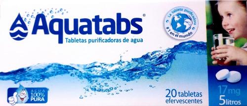 tableta pastilla purificadora de agua aquatabs 1 x 5 litros