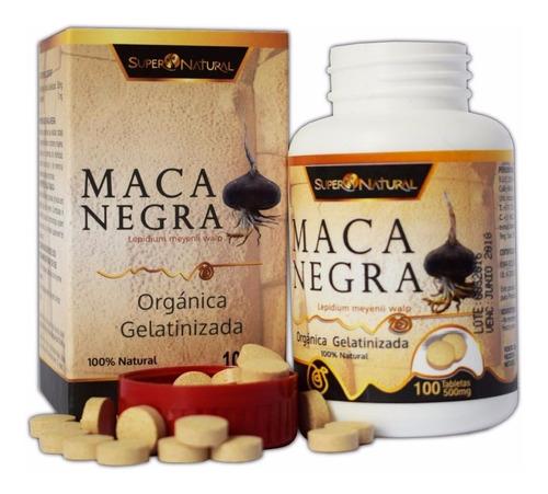 tabletas   de maca negra orgánica gelatinizada