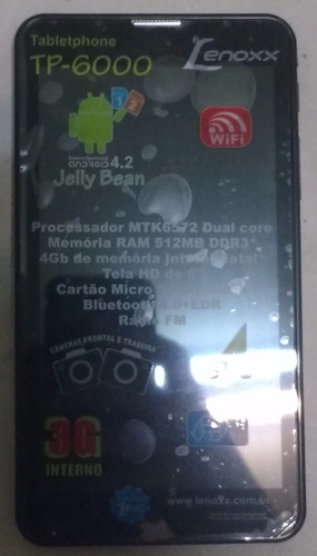 tabletphone  tp6000 preto 3g, 4gb, wi-fi, tela 6'', android
