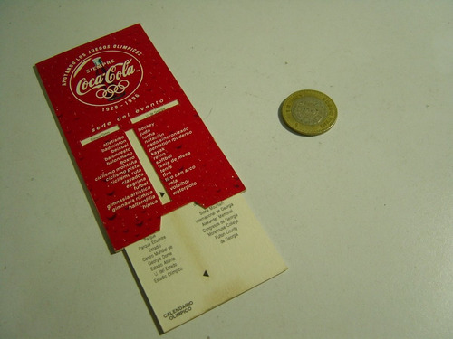 tablilla sede de los eventos juegos olimpicos 1996 coca cola