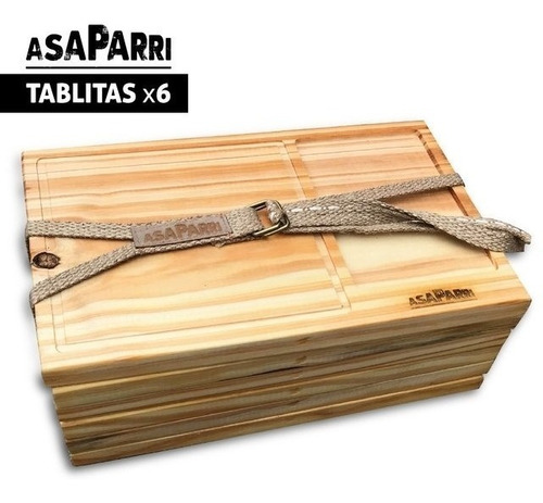 tablitas asaparri x 6 con división para carne y ensalada