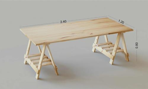 tablón tabla mesa escritorio trabajo corte caballetes