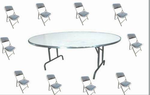tablón y 10 sillas plegables