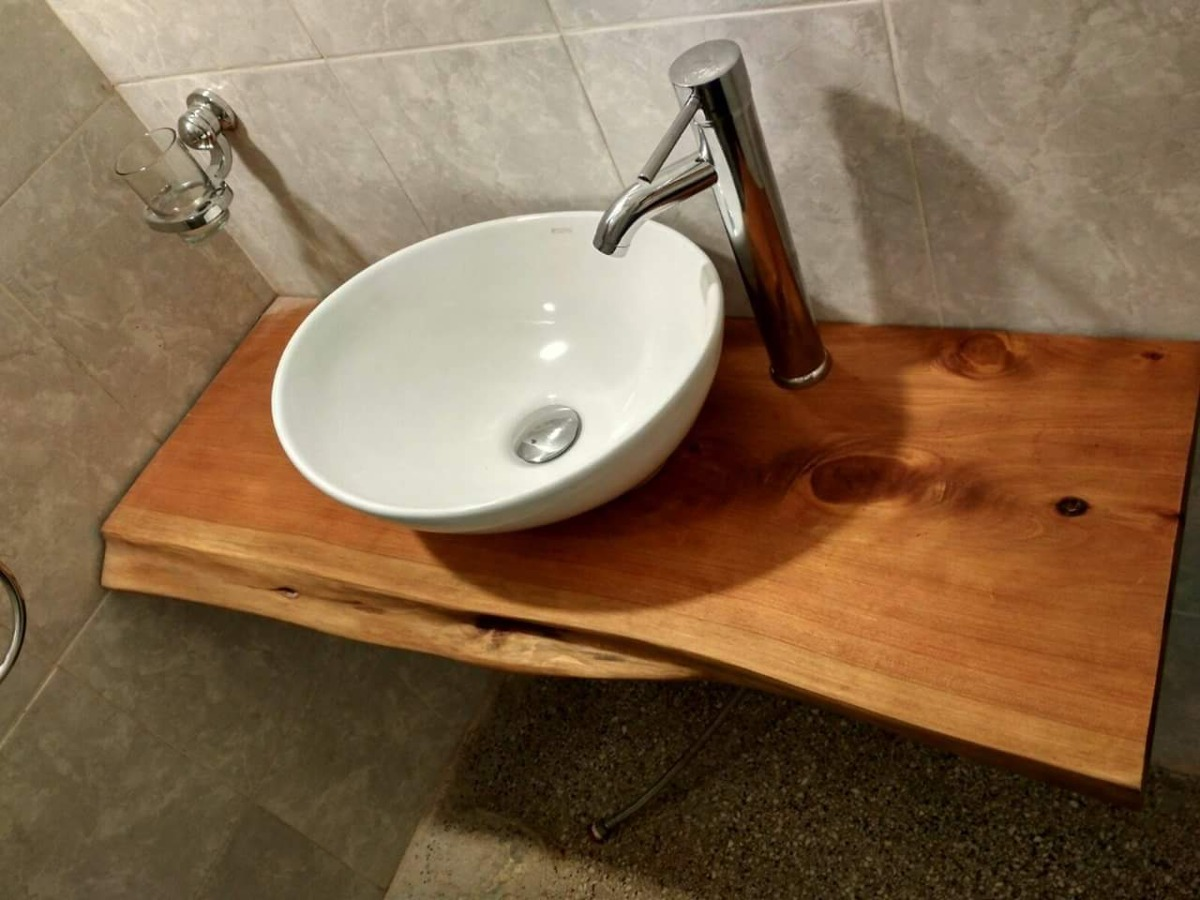 Tablones madera mesada bacha ba o cocina en for Mesadas de bano