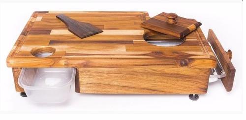 tábua em madeira teka master grill para churrasco completa