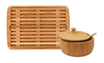tábua para pães com migalheira + farinheira bambu natural