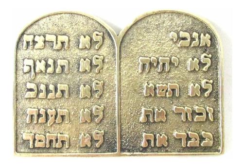 tábua placa 10 mandamentos hebraico judaico metal dourado