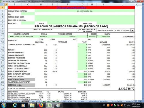 tabulador salarios por negocio actualizado enero 2020