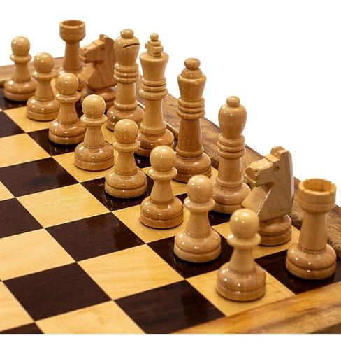 tabuleiro de xadrez gavetas madeira maciça casas 5x5 + peças