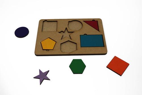 tabuleiro educativo forma geométrica madeira mdf