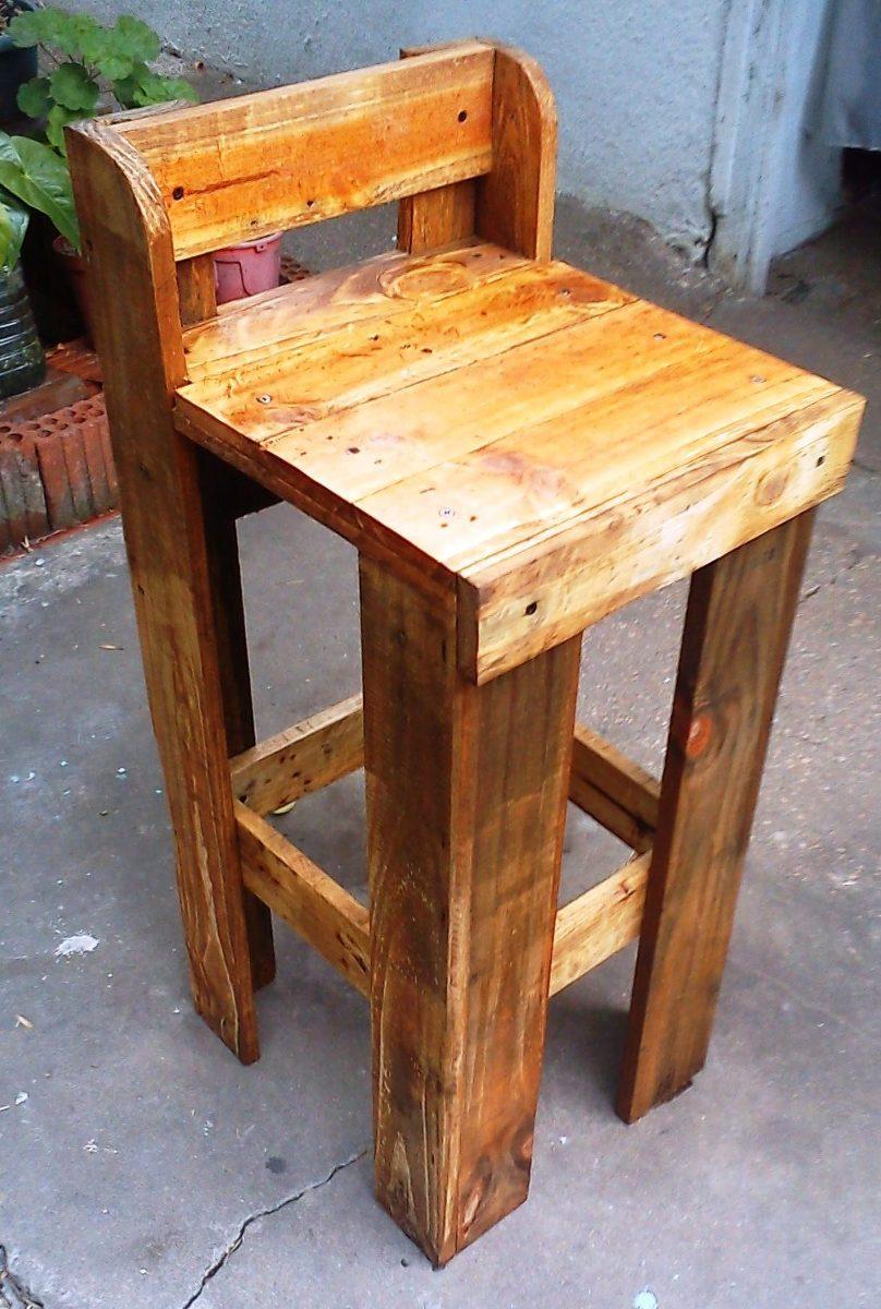 Taburete banca bar en madera de palet 490 00 en - Taburete de madera ...