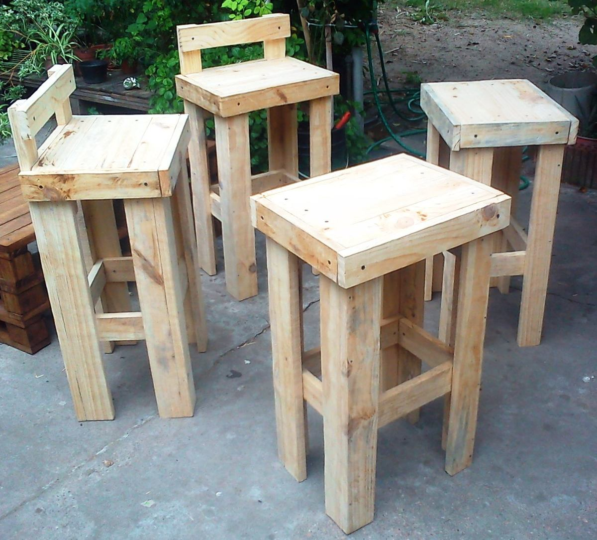 Taburete banca bar en madera de palet 490 00 en for Taburete bar madera
