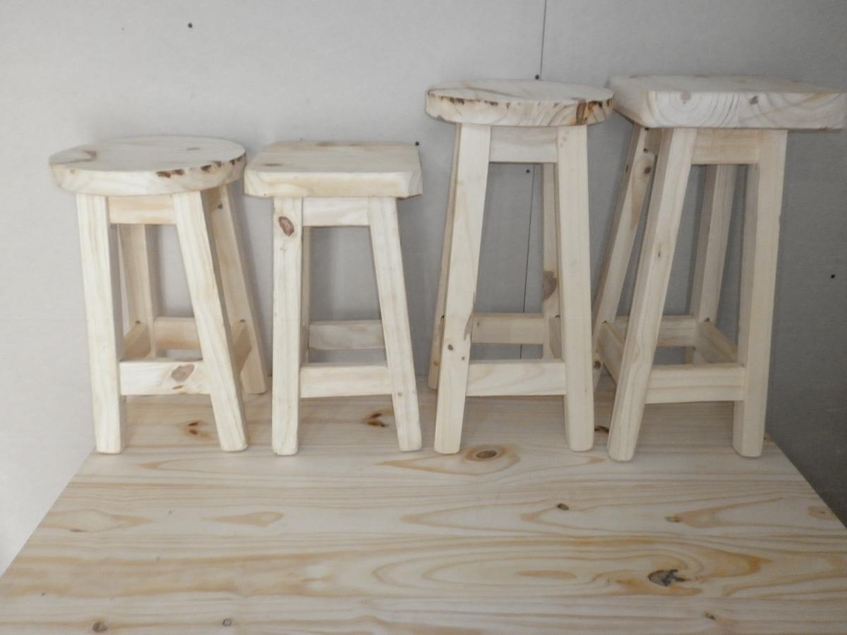 Taburete banco de madera 45 bar barra cocina sin pintar for Bancos de madera para barra