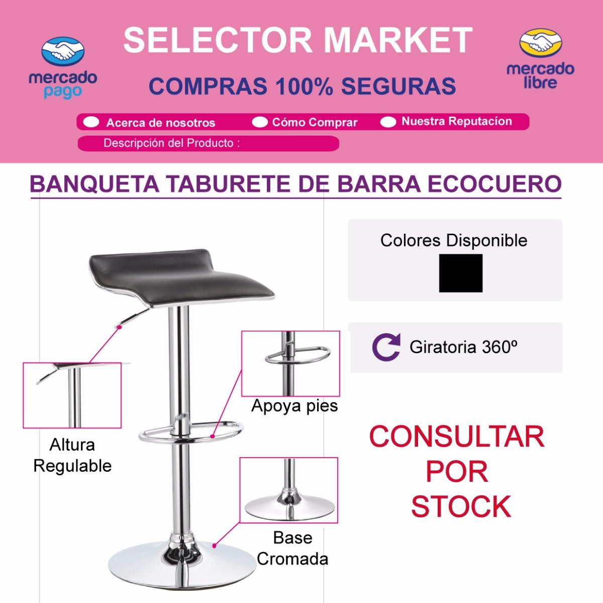 Taburete Banqueta Silla Alta Barra Bar Cocina Ecocuero - $ 1.300,00 ...