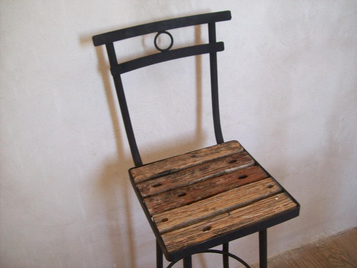 Taburete butaca silla alta de madera pique y hierro nuevas - Taburete de madera ...