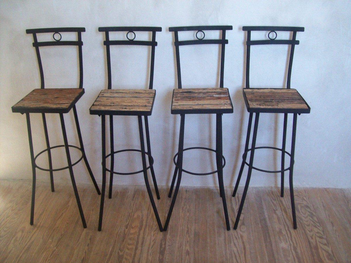 Taburete butaca silla alta de madera pique y hierro nuevas for Silla butaca comedor