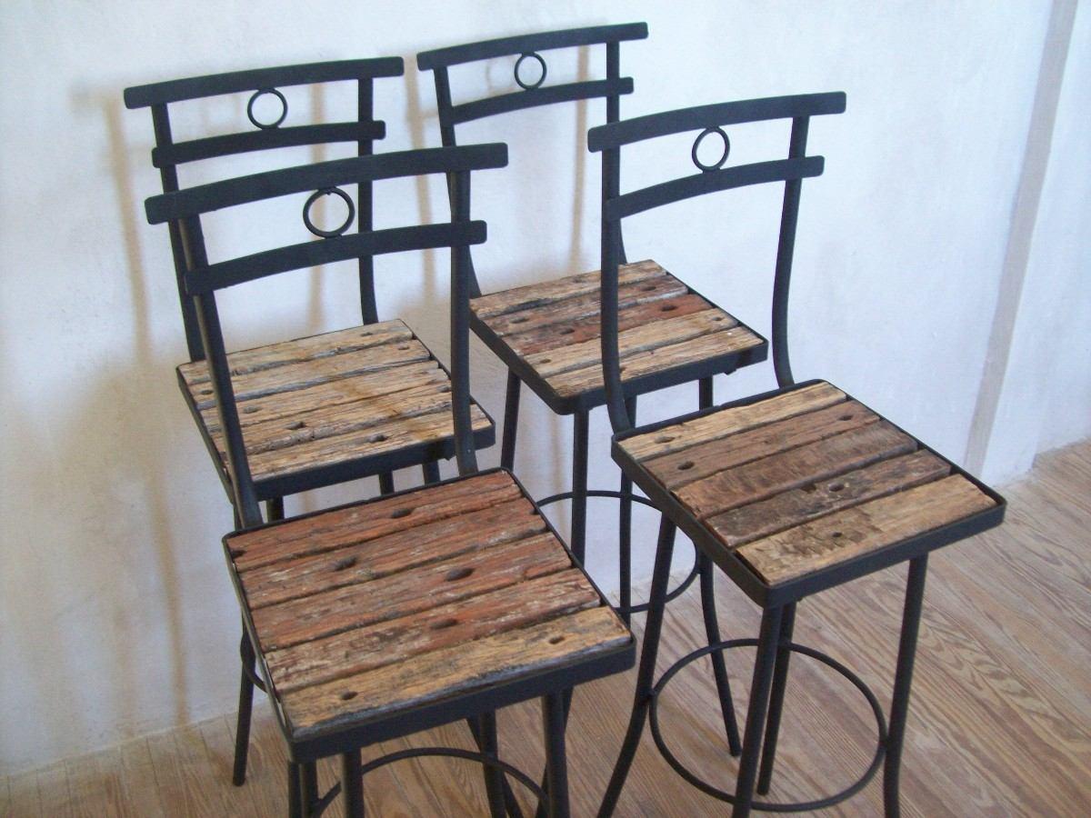 Taburete butaca silla alta de madera pique y hierro nuevas for Sillas altas de madera